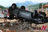北京洪水掀翻车辆