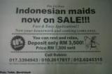 马来西亚惊现印尼女佣促销广告